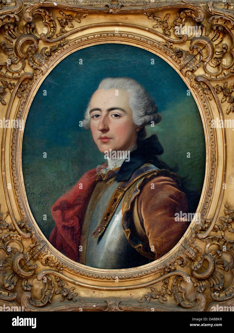 Portrait d'un officier comte Vaux - Portrait of an Officer Count Vaux  Louis Baptiste Van LOO 1707-1759  France - Stock Image
