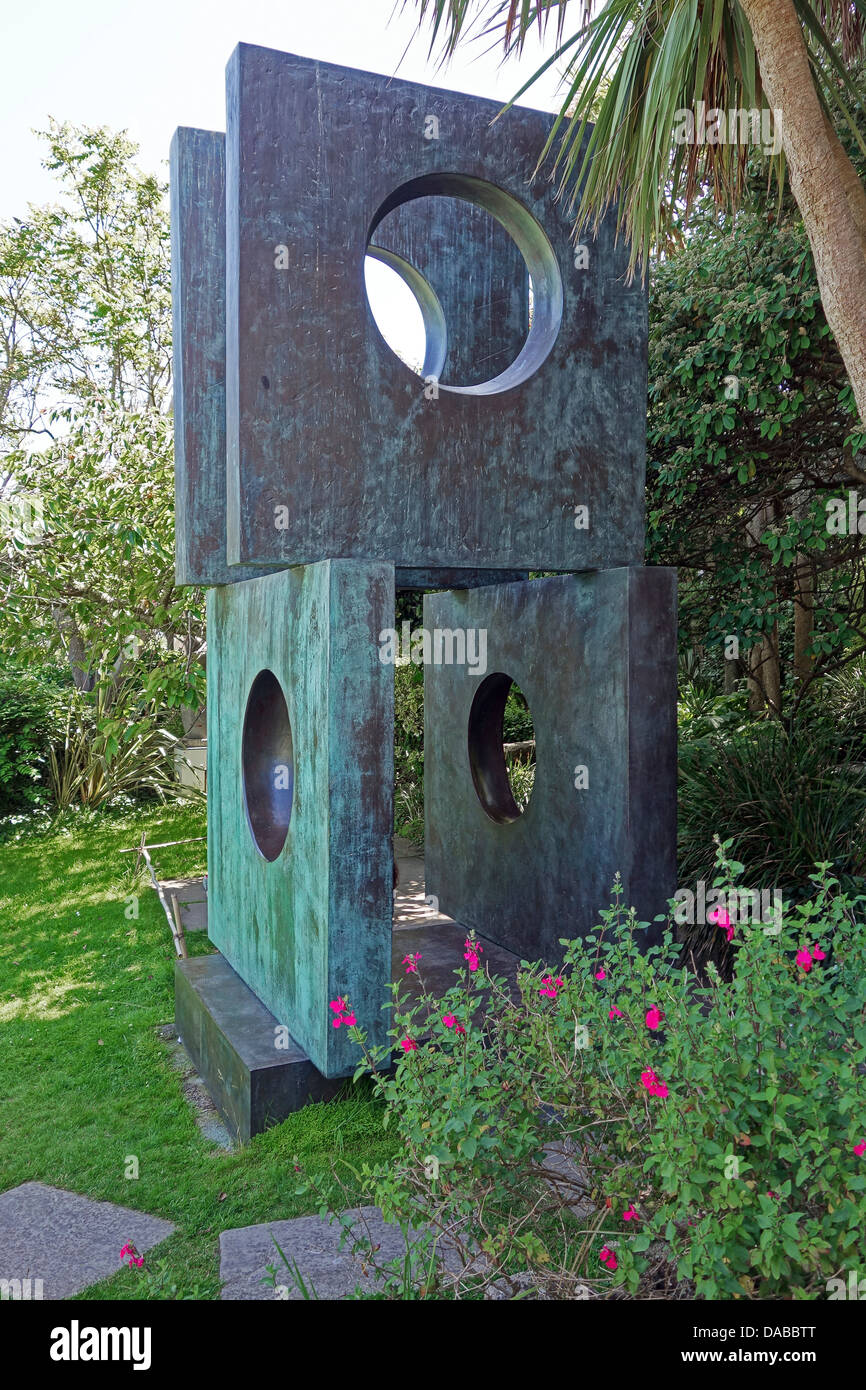 A sculpture in the garden at the Barbara Hepworth museum in St.Ives, Cornwall, UK - Stock Image