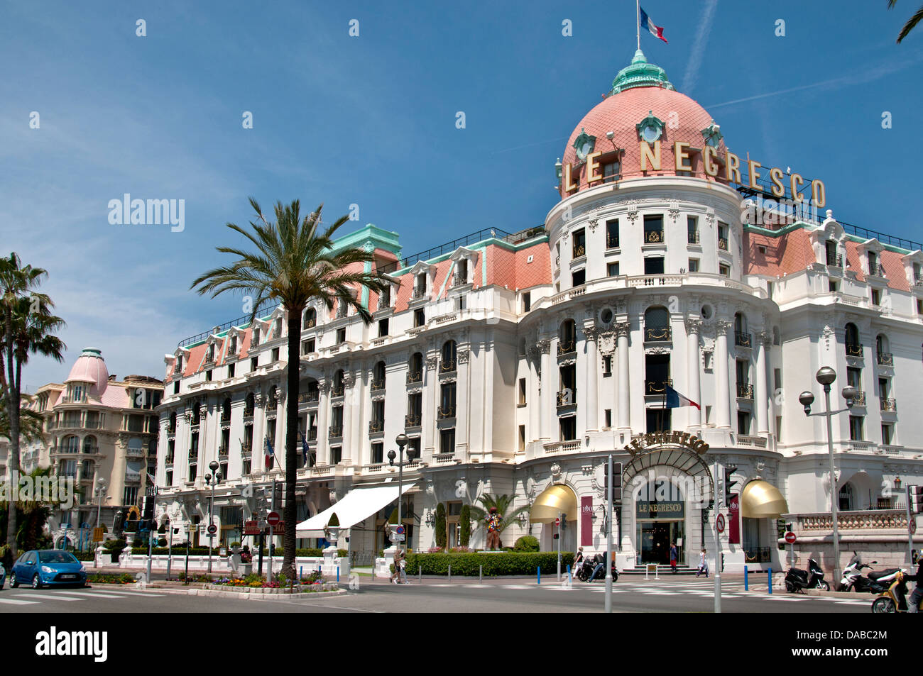 Luxury hotels - Hotel Negresco Nice Beach Promenade des Anglais French Riviera Cote D'Azur France - Stock Image