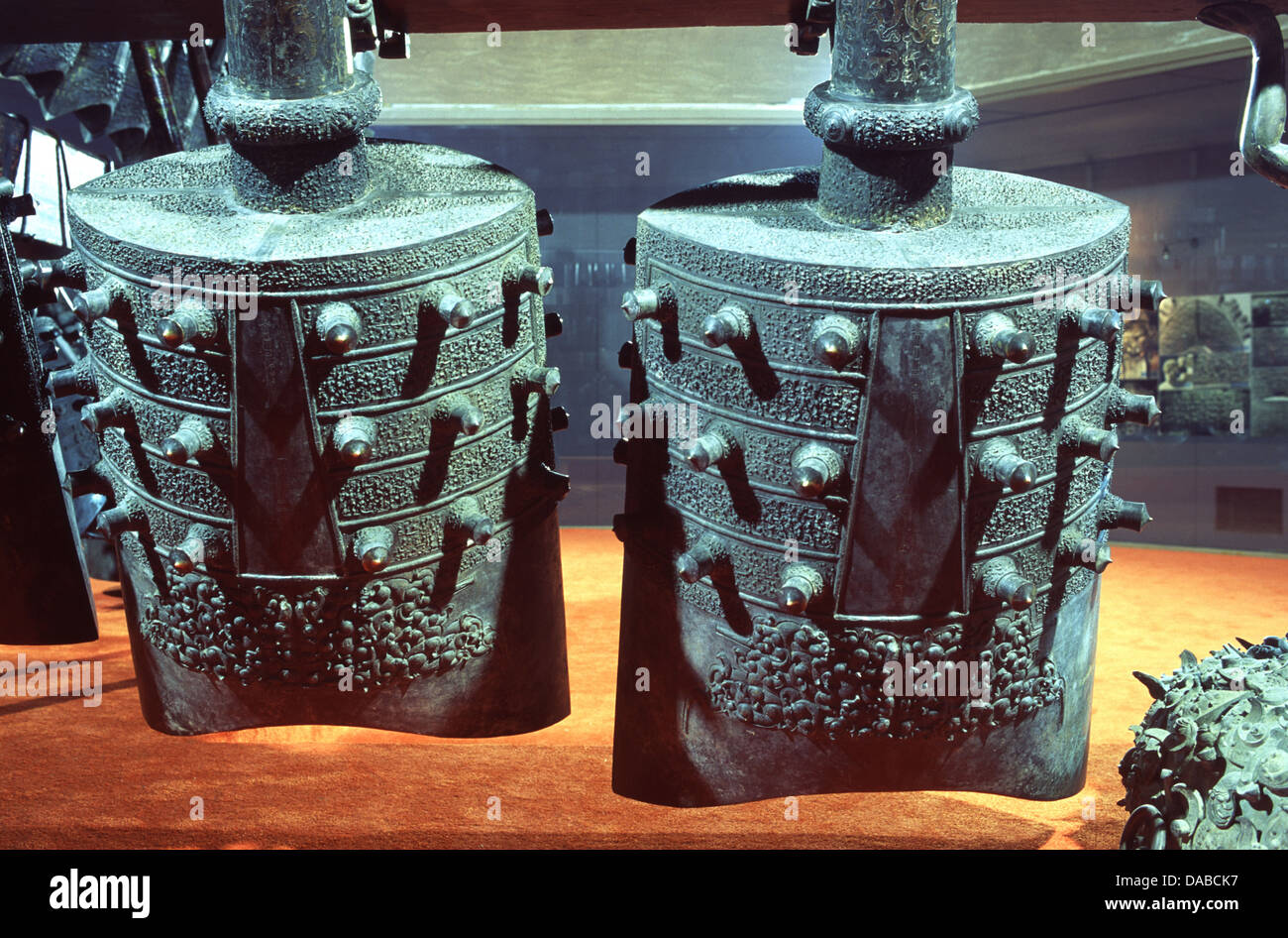 Bianzhong set of ancient bronze bells important musical instrument in China's ritual and court music going back - Stock Image