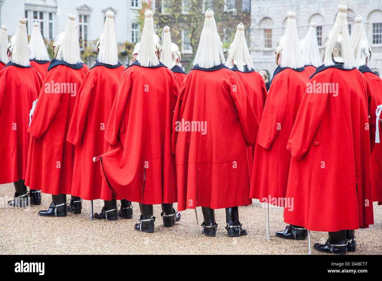 Soldiers of the Household Cavalry in Horse Guards Parade in Westminster London - Stock Image