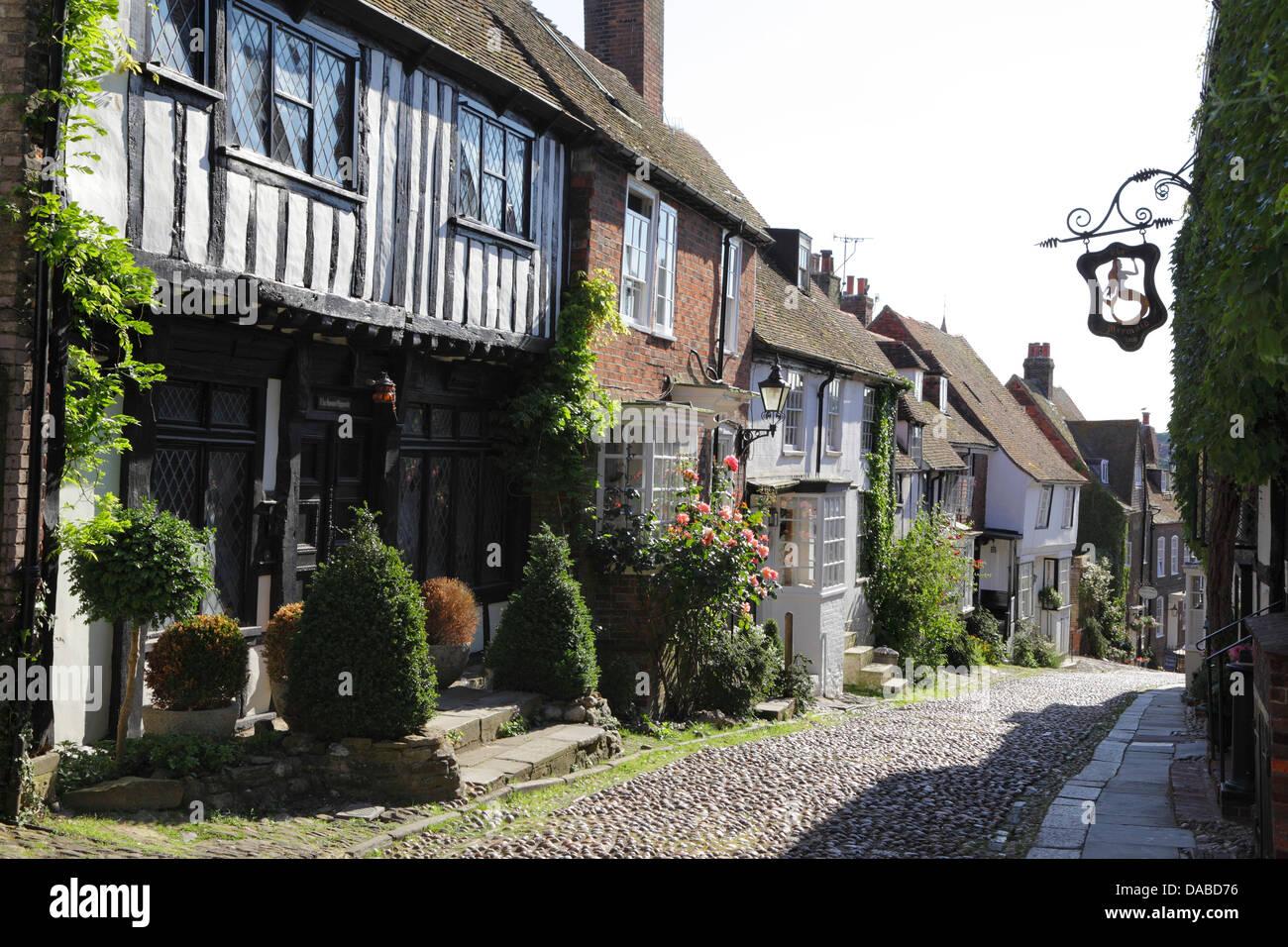 Mermaid Street, Rye, East Sussex, England, UK, GB - Stock Image