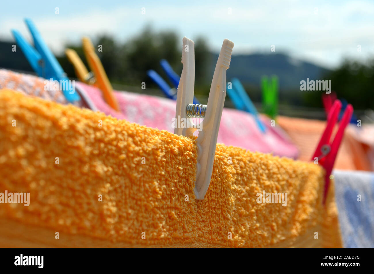Close look on clothes peg - Stock Image