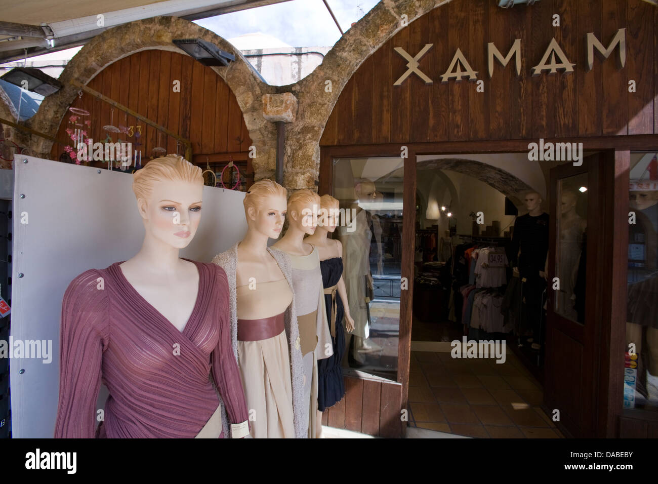 There are quite a number of upscale establishments among the maze of tourist shops in Chania, Crete, Greece. - Stock Image