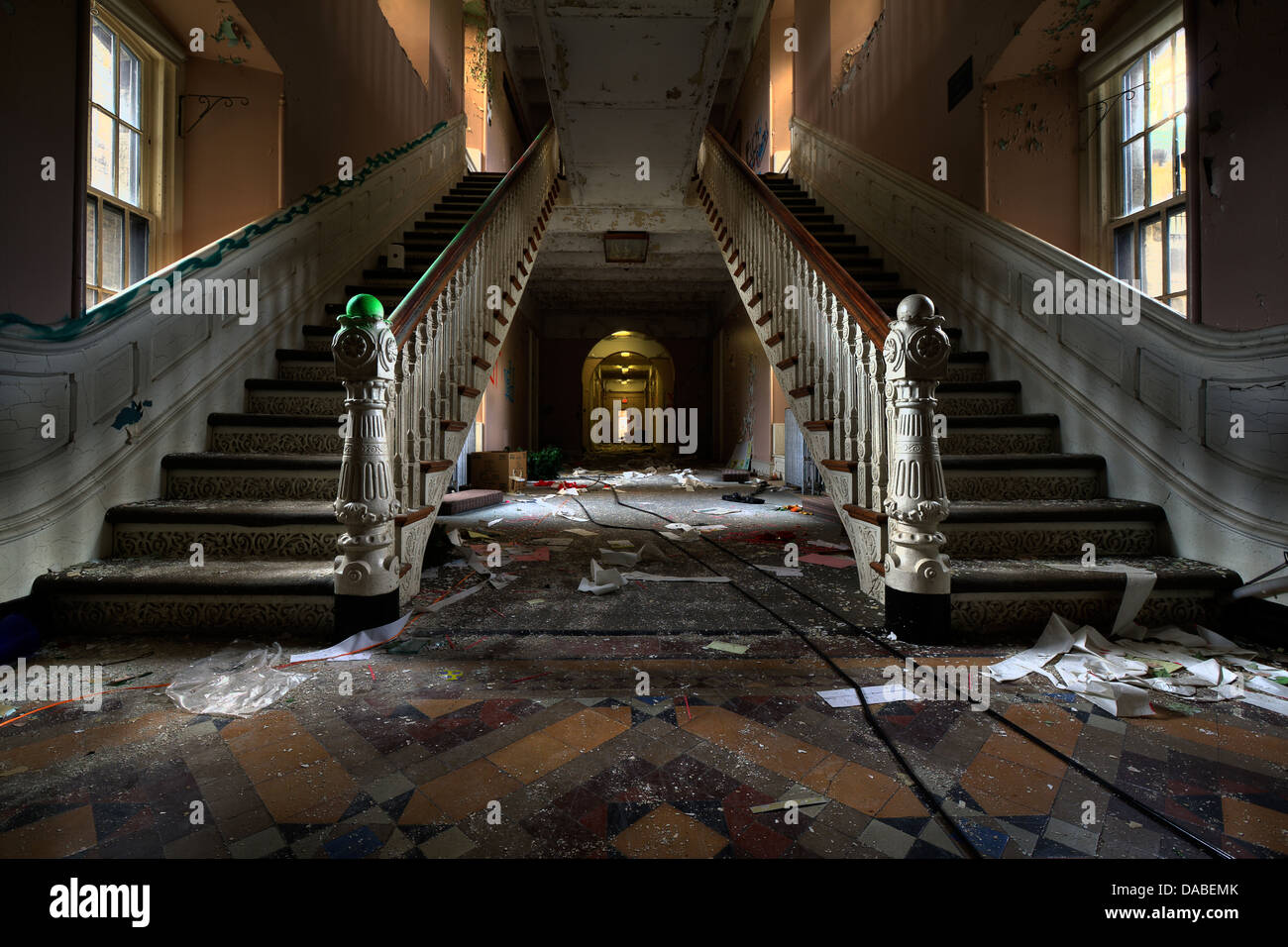 Main entrance stairs inside the abandoned Greystone psychiatric Hospital - Stock Image