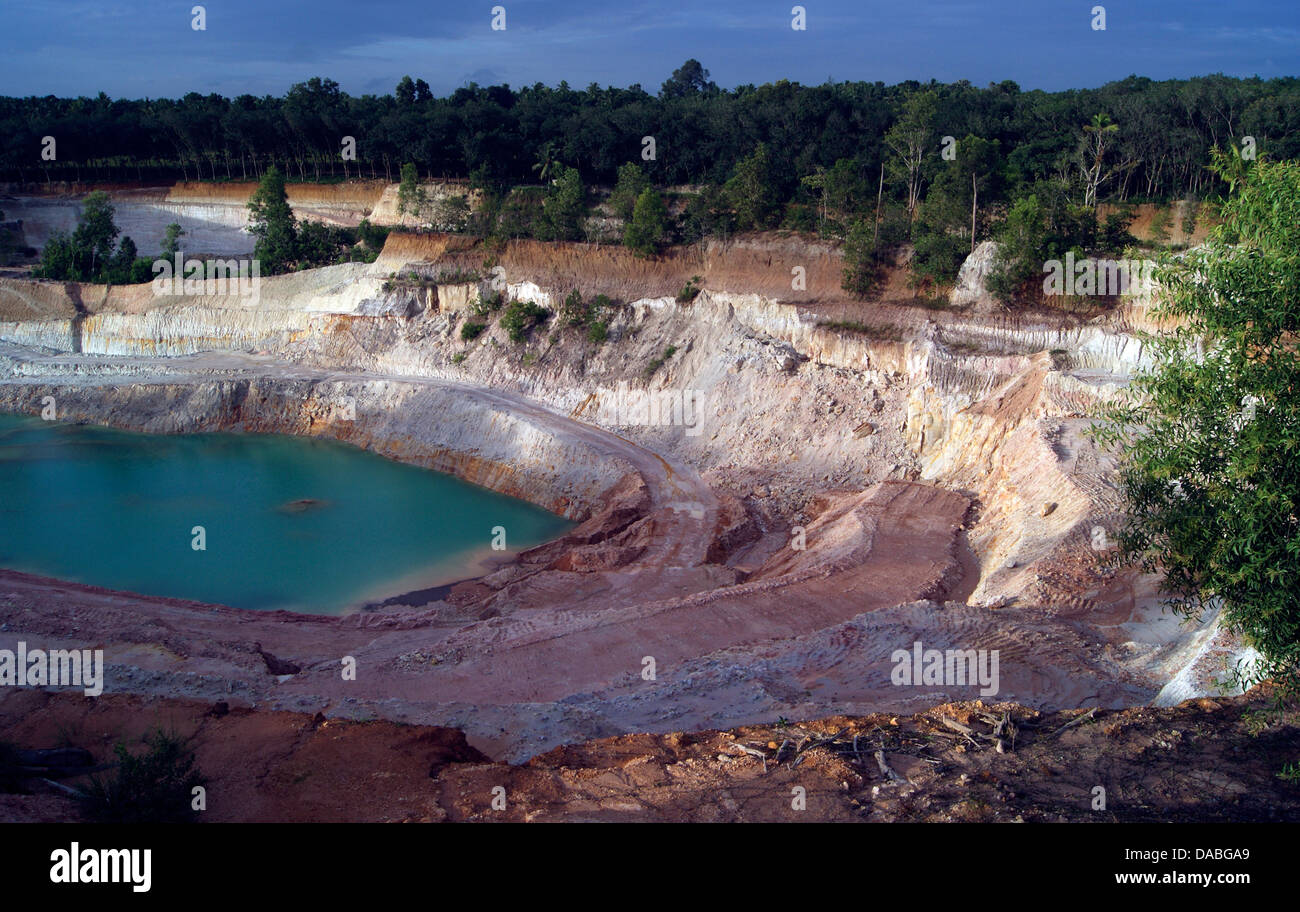 Clay Mining Pits and Pond formation. Environmental Issues Kerala India - Stock Image