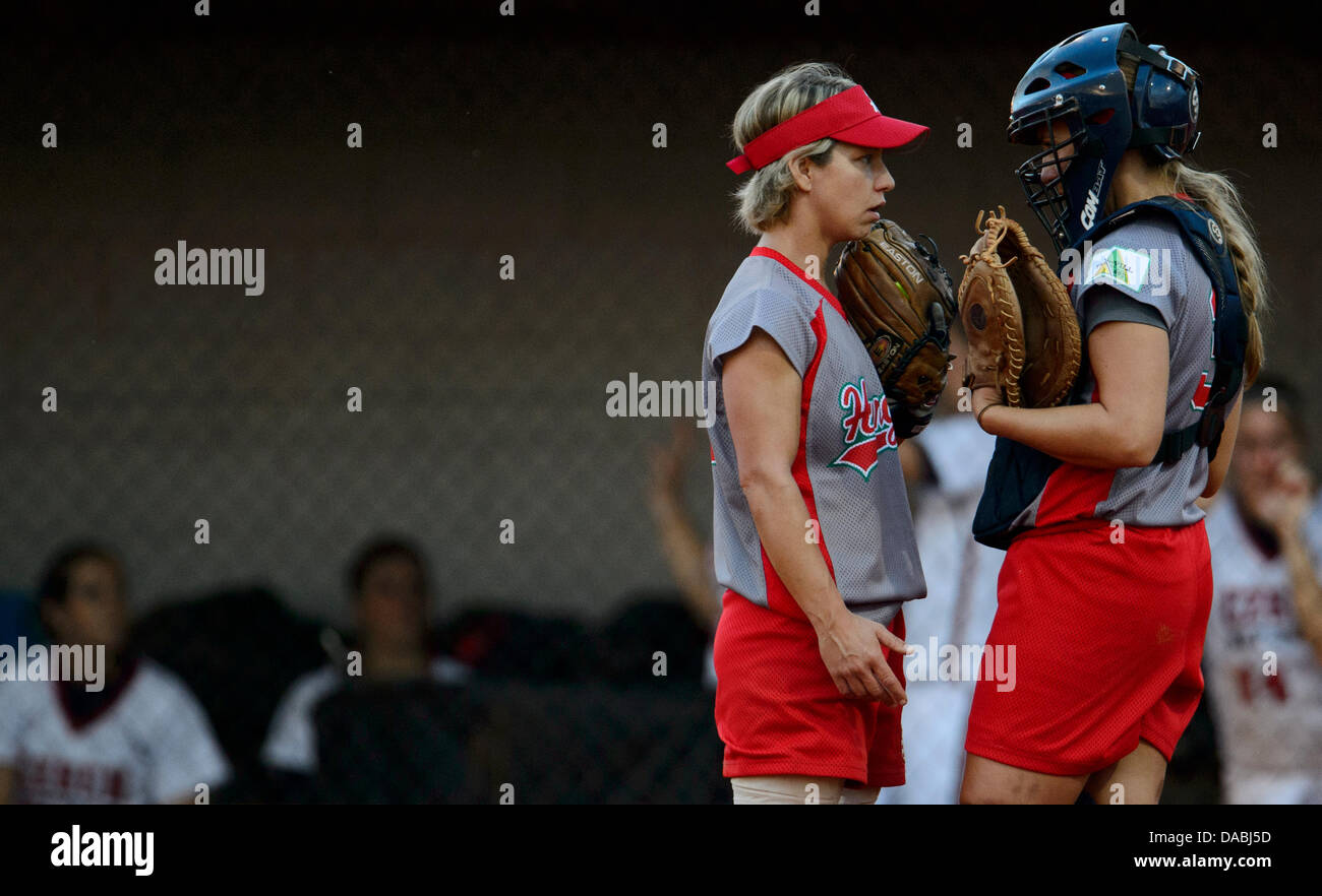 Hungary, Prague, Czech Republic. 9th July, 2013. Softball European Championship,women,Czech Republic vs Hungary, - Stock Image