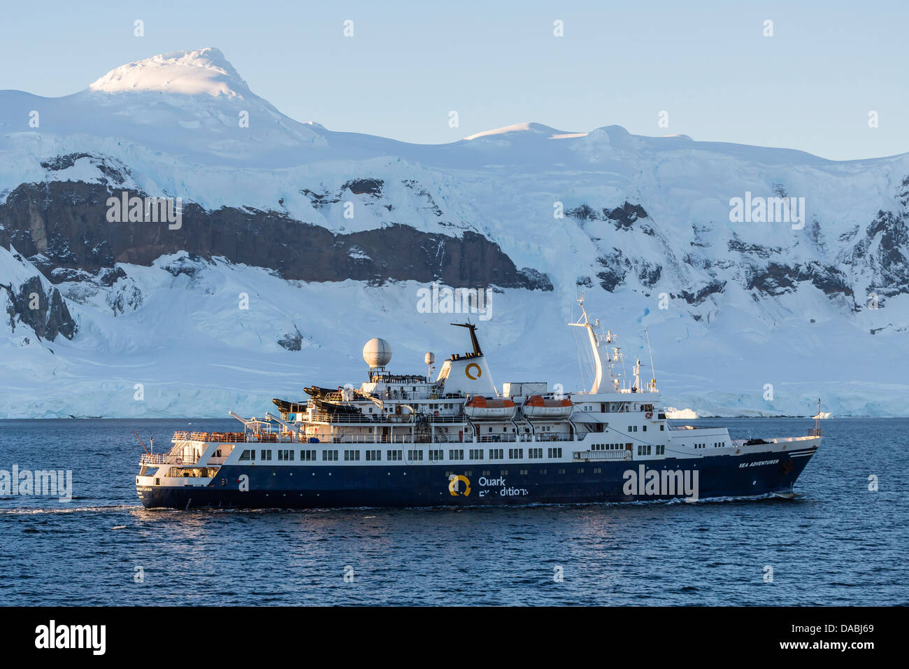 The Quark Expeditions ship Sea Adventurer operating in the Gerlache Strait, Antarctica, Southern Ocean, Polar Regions - Stock Image