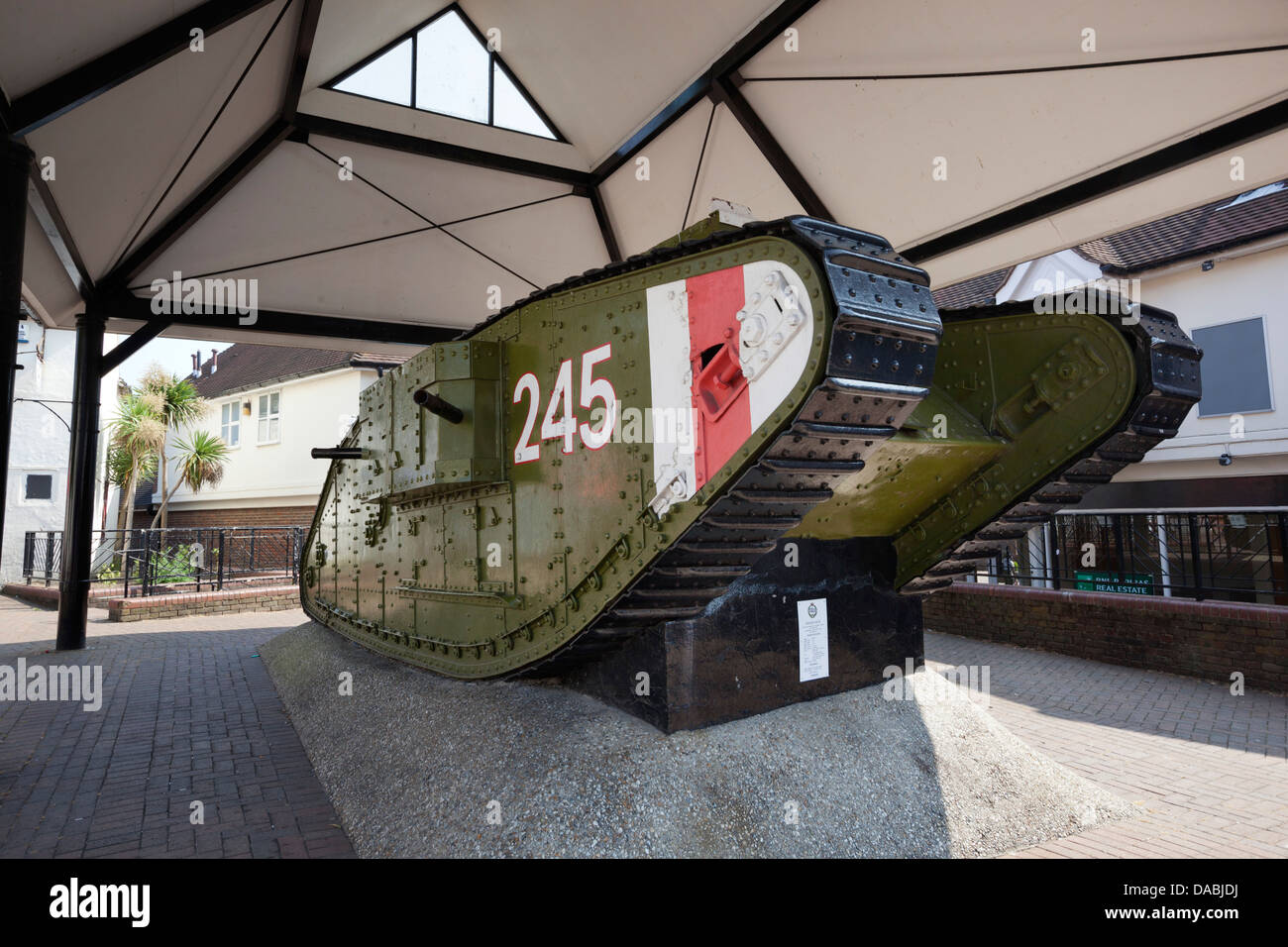 British Mark 4 tank 1916, presented to the town of Ashford in 1919 - Stock Image