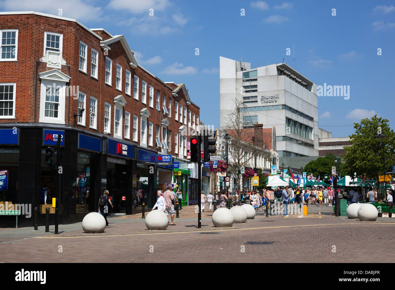 Bromley High Street and Churchill Theatre - Stock Image