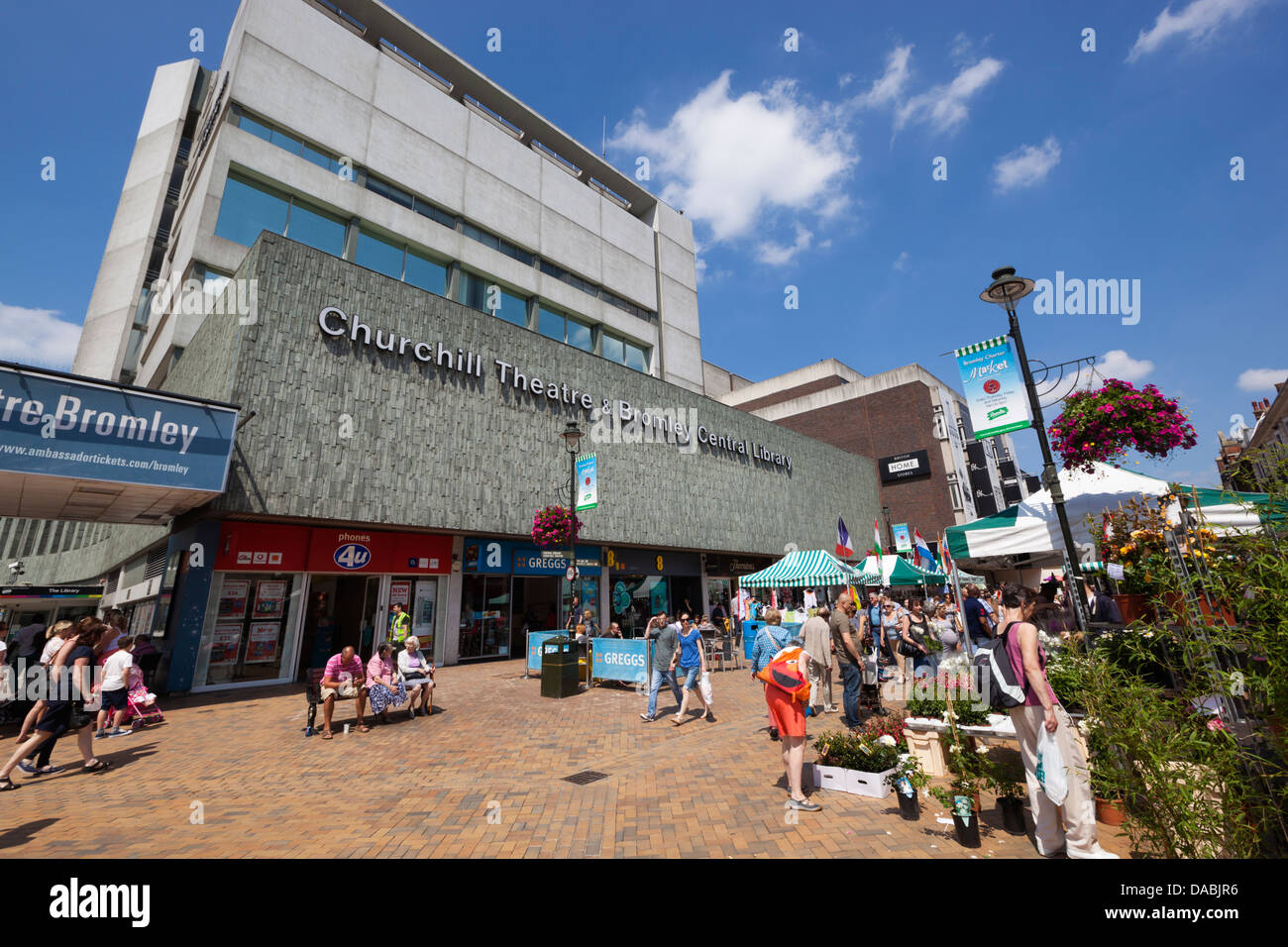 Churchill Theatre and Bromley Charter Market along the High Street - Stock Image