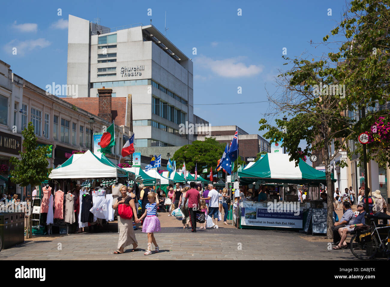 Bromley Charter Market along the High Street and Churchill Theatre - Stock Image