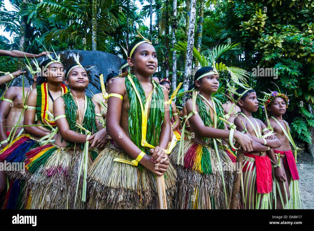 Traditionally dressed islanders posing for the camera, Island of Yap, Federated States of Micronesia, Caroline Islands, - Stock Image