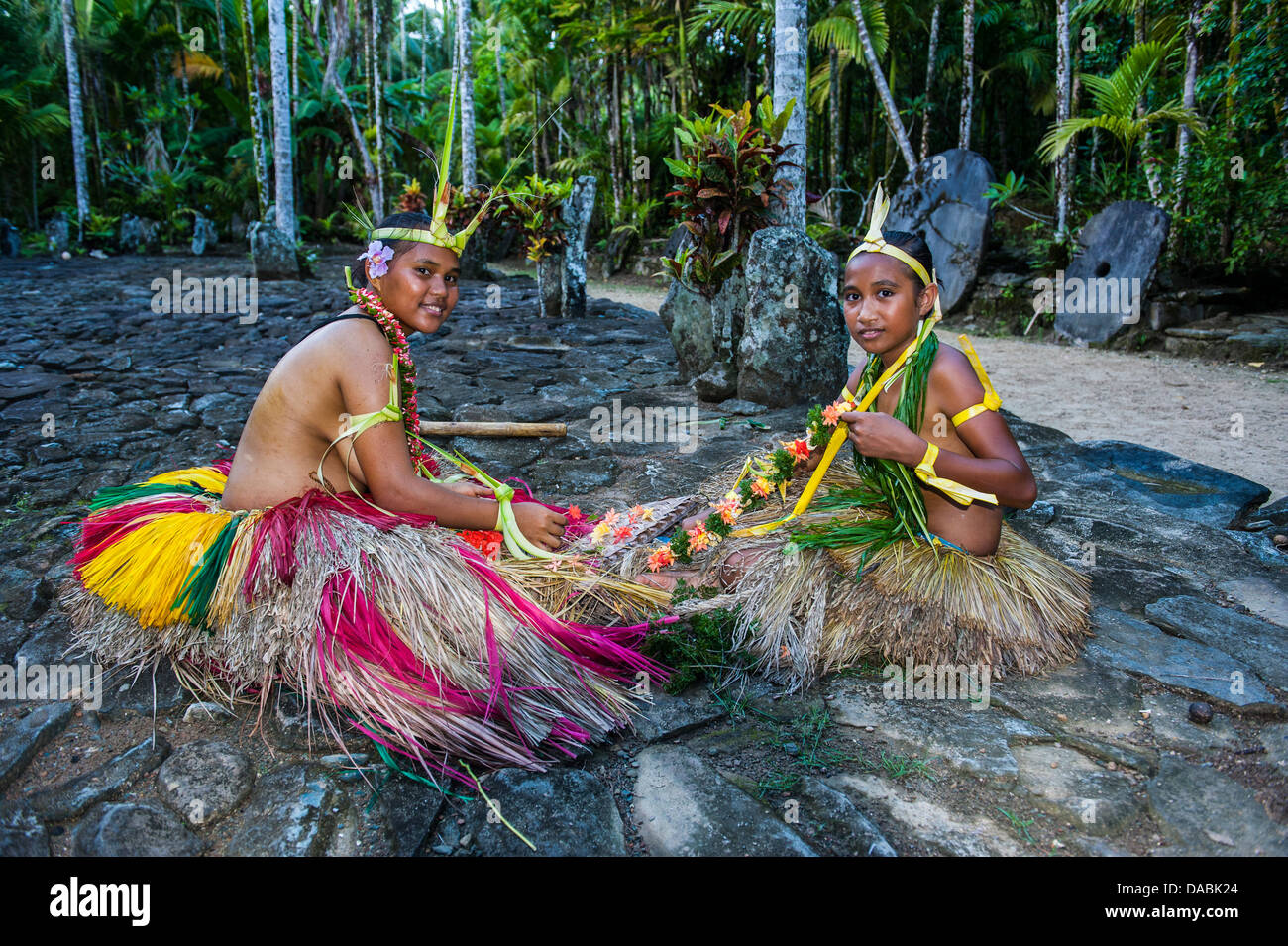Local islanders practising traditional art work, Island of Yap, Federated States of Micronesia, Caroline Islands, - Stock Image