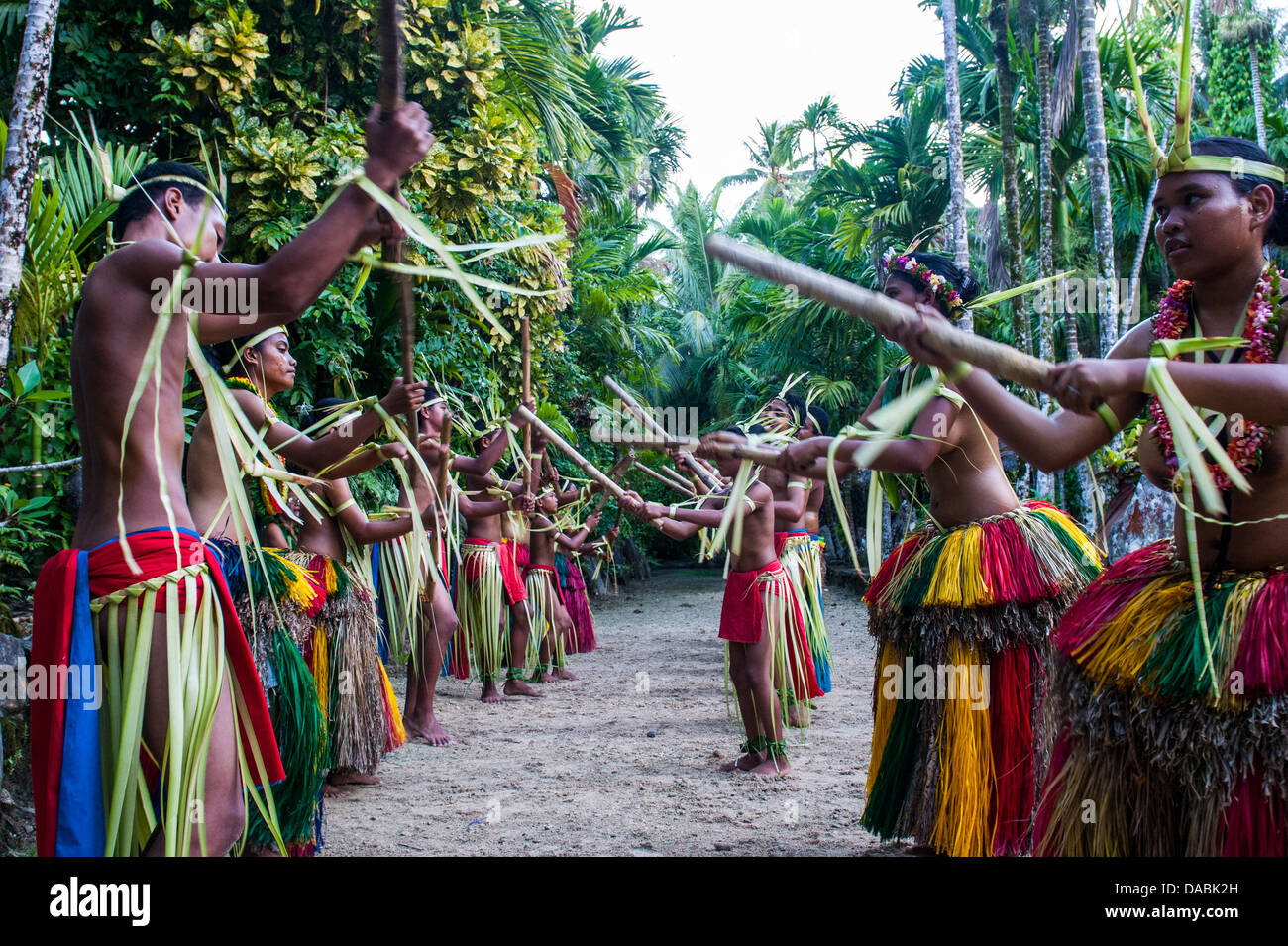 Stick dance from the tribal people of the island of Yap, Federated States of Micronesia, Caroline Islands, Pacific - Stock Image