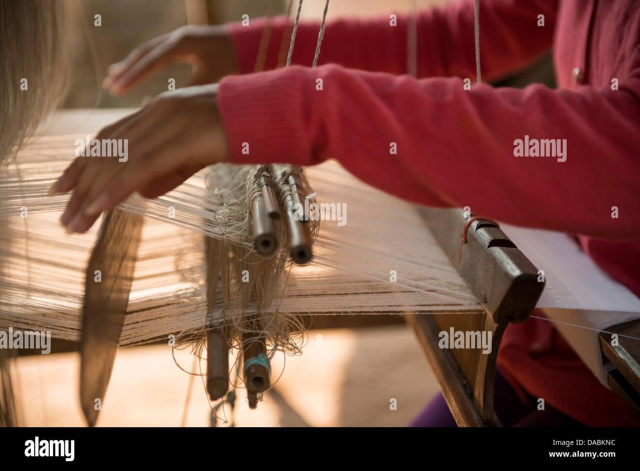 Weaving Village of Ban Phanom, Luang Prabang, Laos, Indochina, Southeast Asia, Asia - Stock Image