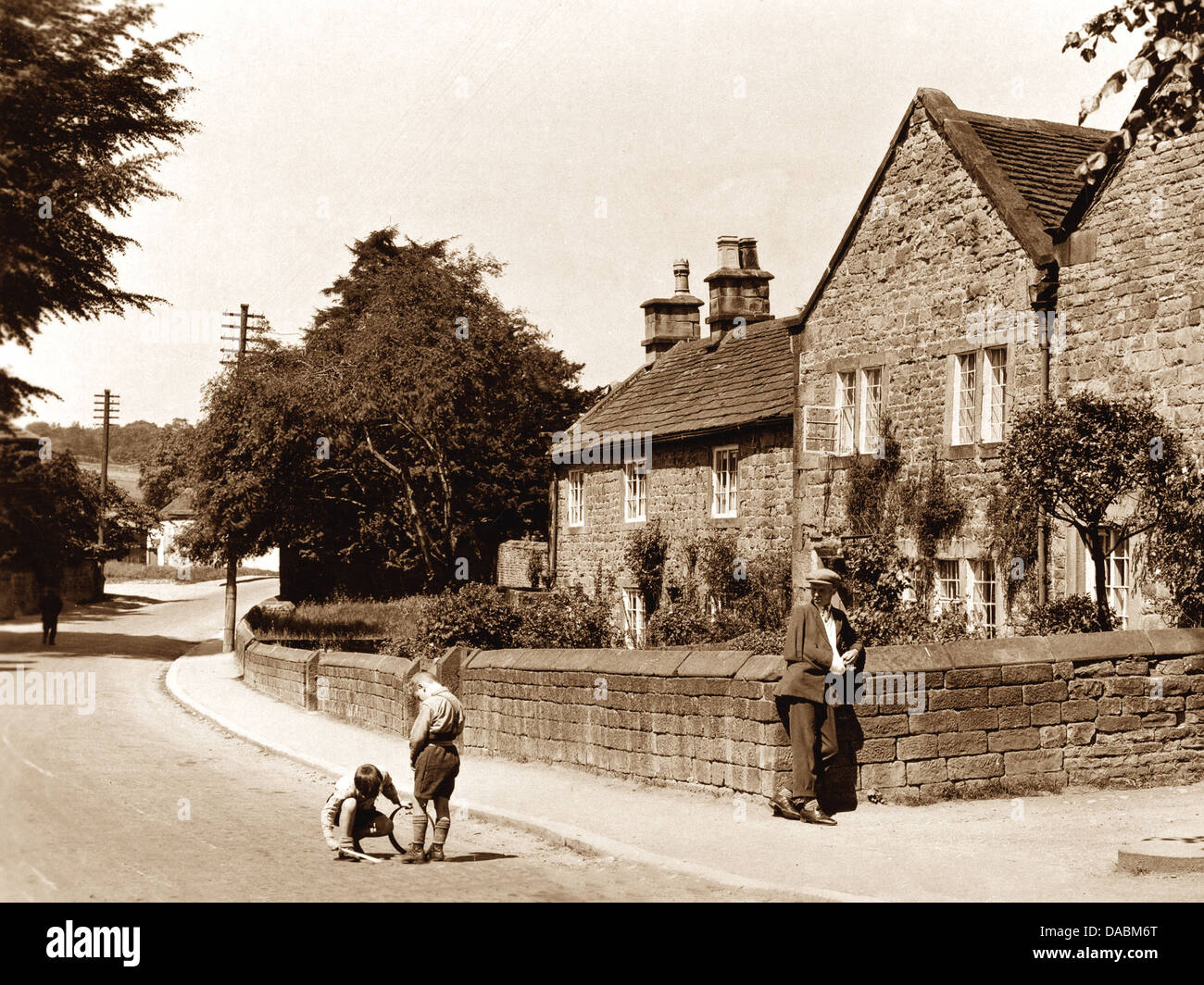 Eyam Plague Cottages early 1900s Stock Photo