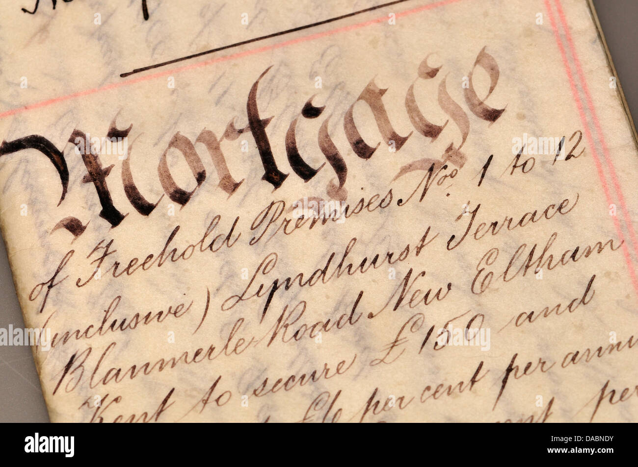 Old Mortgage document (1910) written on vellum - Stock Image