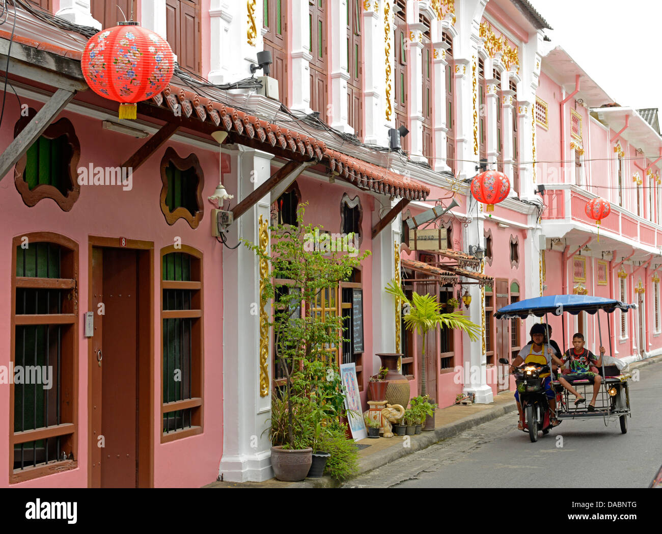 Turn of the century Chinese shophouses in Romanee Road, Phuket town, Thailand, Southeast Asia, Asia - Stock Image