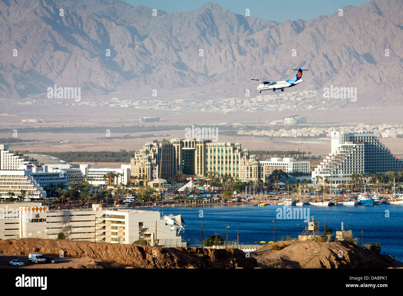 View over the Red Sea, beach and hotels in Eilat, Israel, Middle East - Stock Image