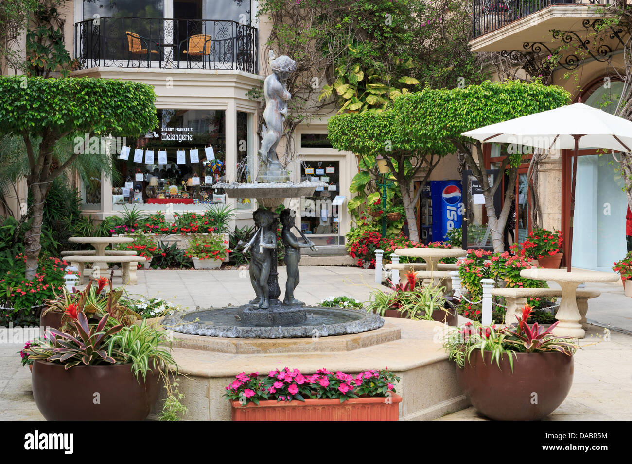 Courtyard fountain on Worth Avenue, Palm Beach, Florida, United States of America, North America Stock Photo