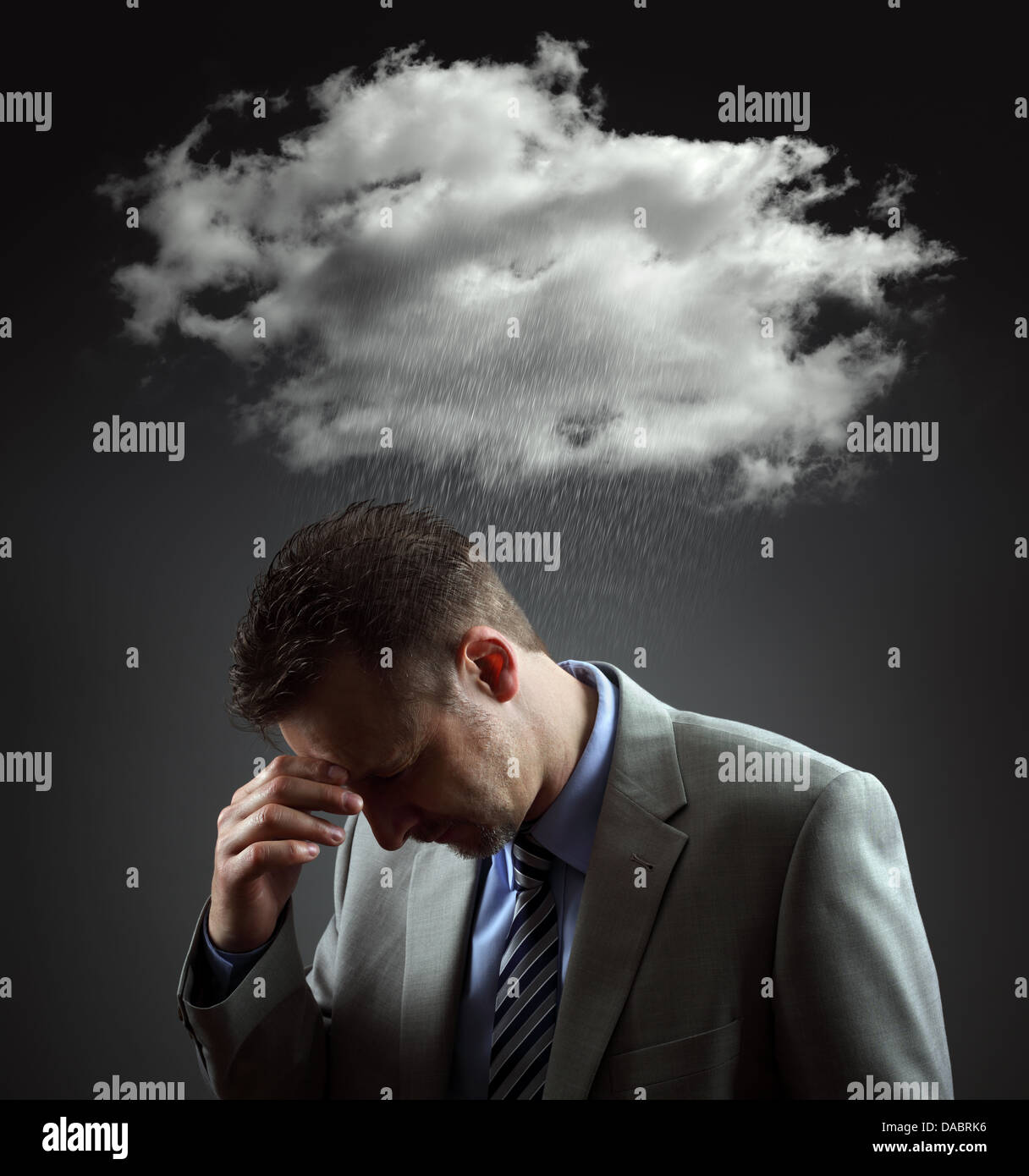 Depressed businessman - Stock Image