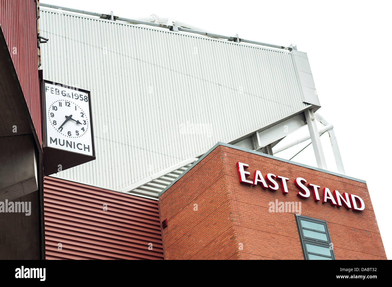 Munich clock and East Stand, Old Trafford, Manchester - Stock Image