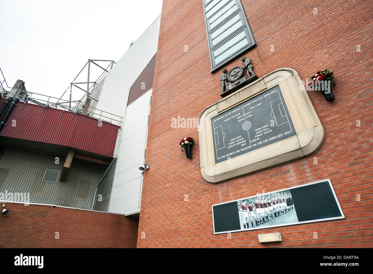 Munich Air Disaster Memorial, Old Trafford, Manchester - Stock Image