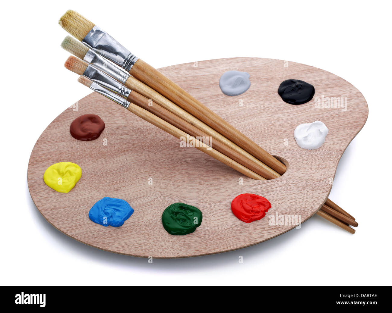 Artist's palette with brushes - Stock Image