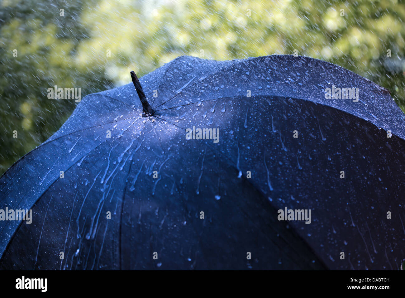 Rain on umbrella - Stock Image