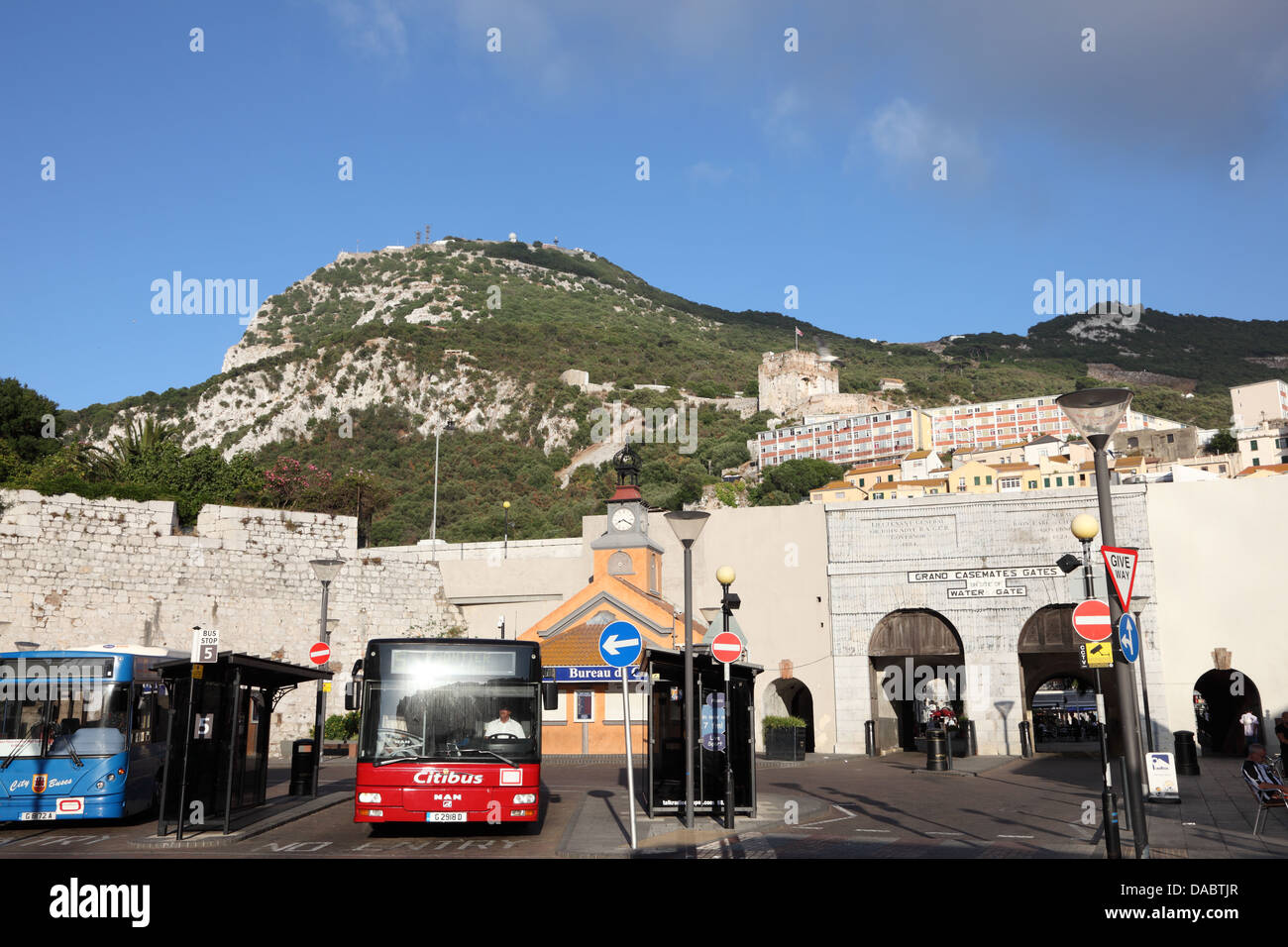 Bus station at Grand Casemates Gates in Gibraltar - Stock Image