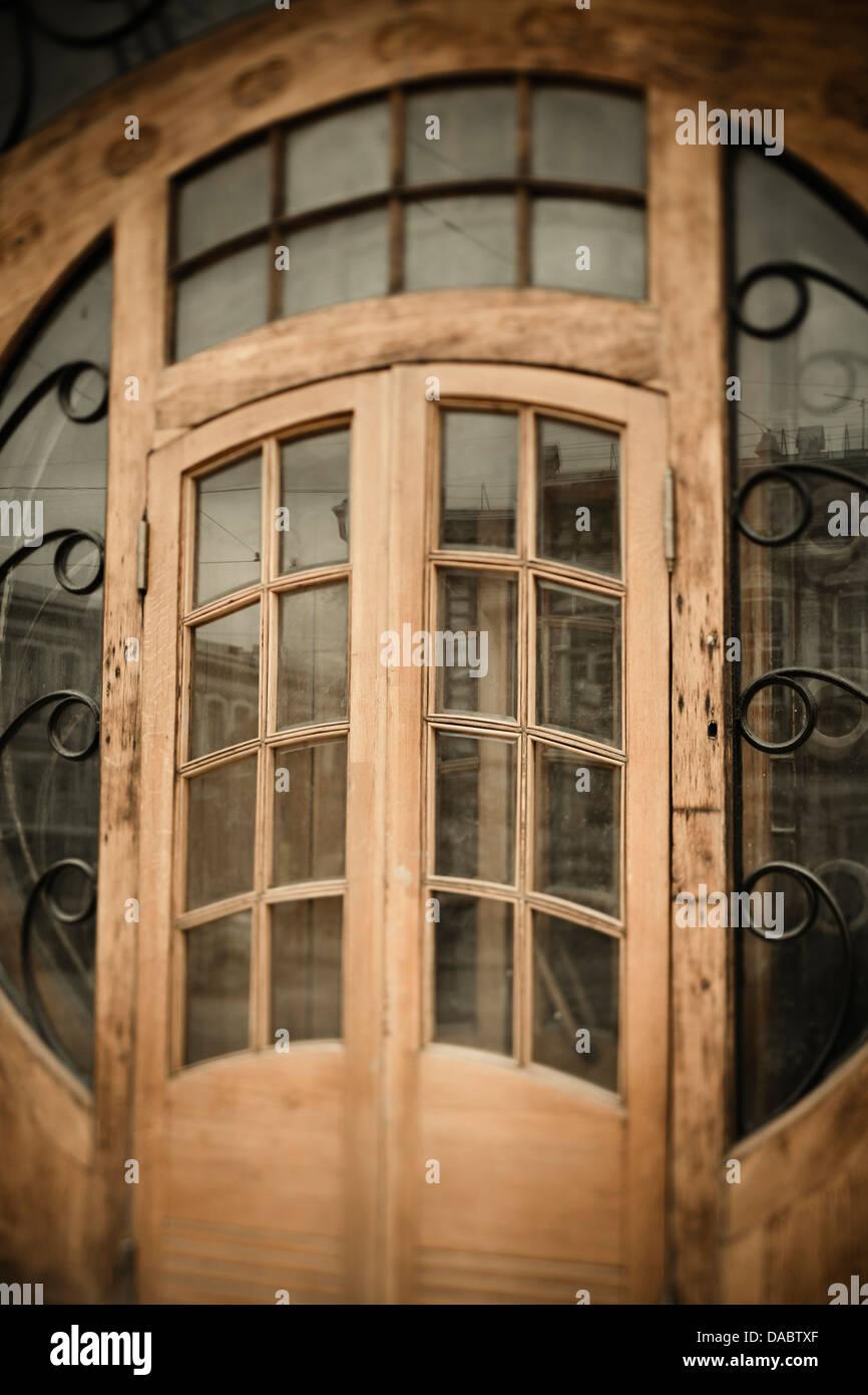 old door in modern style, tilt-shift blur - Stock Image