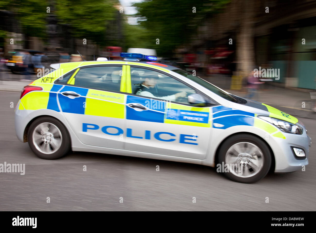 Police Car, Charing Cross Road, London, England Stock Photo