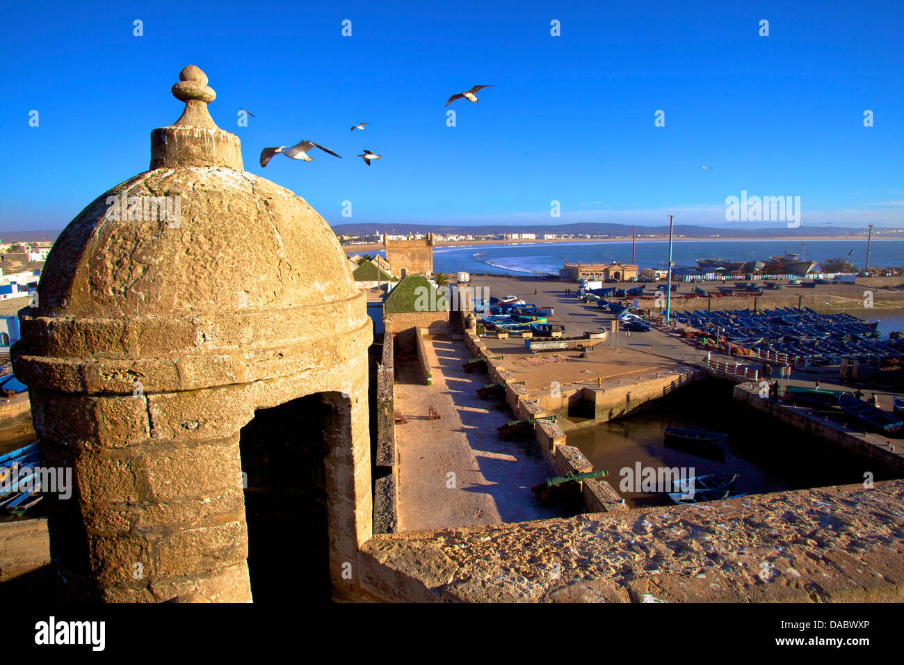 North Bastion view over Essaouira, Morocco, North Africa, Africa - Stock Image