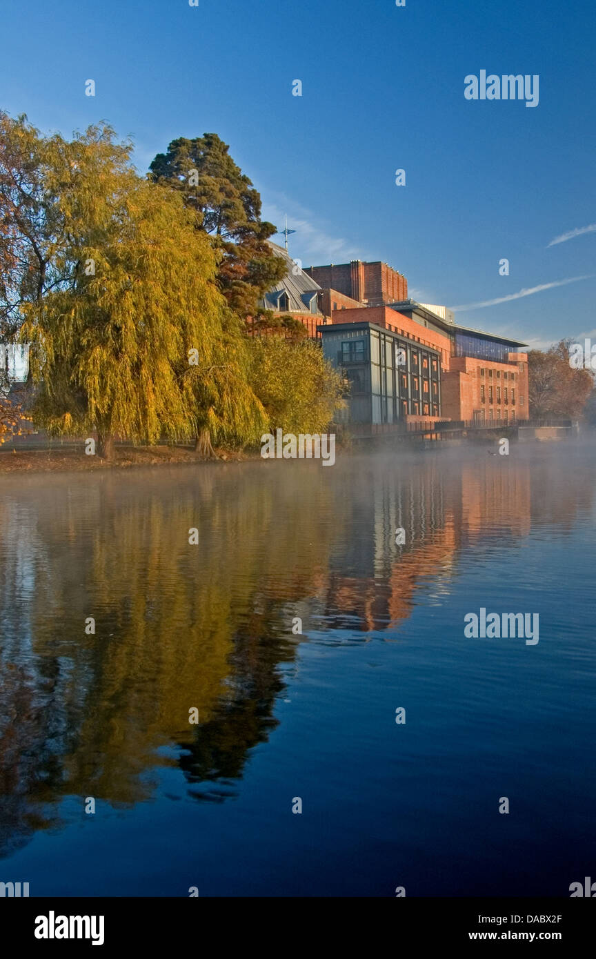 Stratford upon Avon and an autumnal morning with the world famous Royal Shakespeare Theatre  on the banks of the - Stock Image