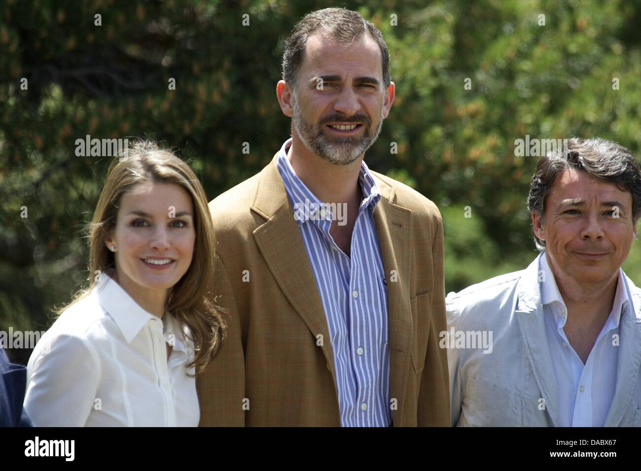 Rascafria, Spain. 10th July, 2013. Prince Felipe of Spain and Princess Letizia of Spain visit the National Park Stock Photo