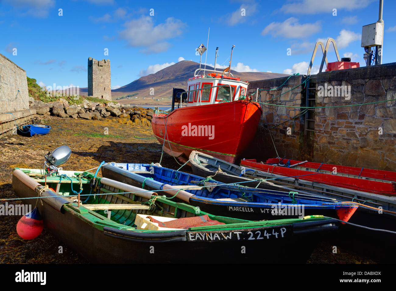 Fishing boats at Kildownet Pier, Achill Island, County Mayo, Connaught (Connacht), Republic of Ireland, Europe - Stock Image