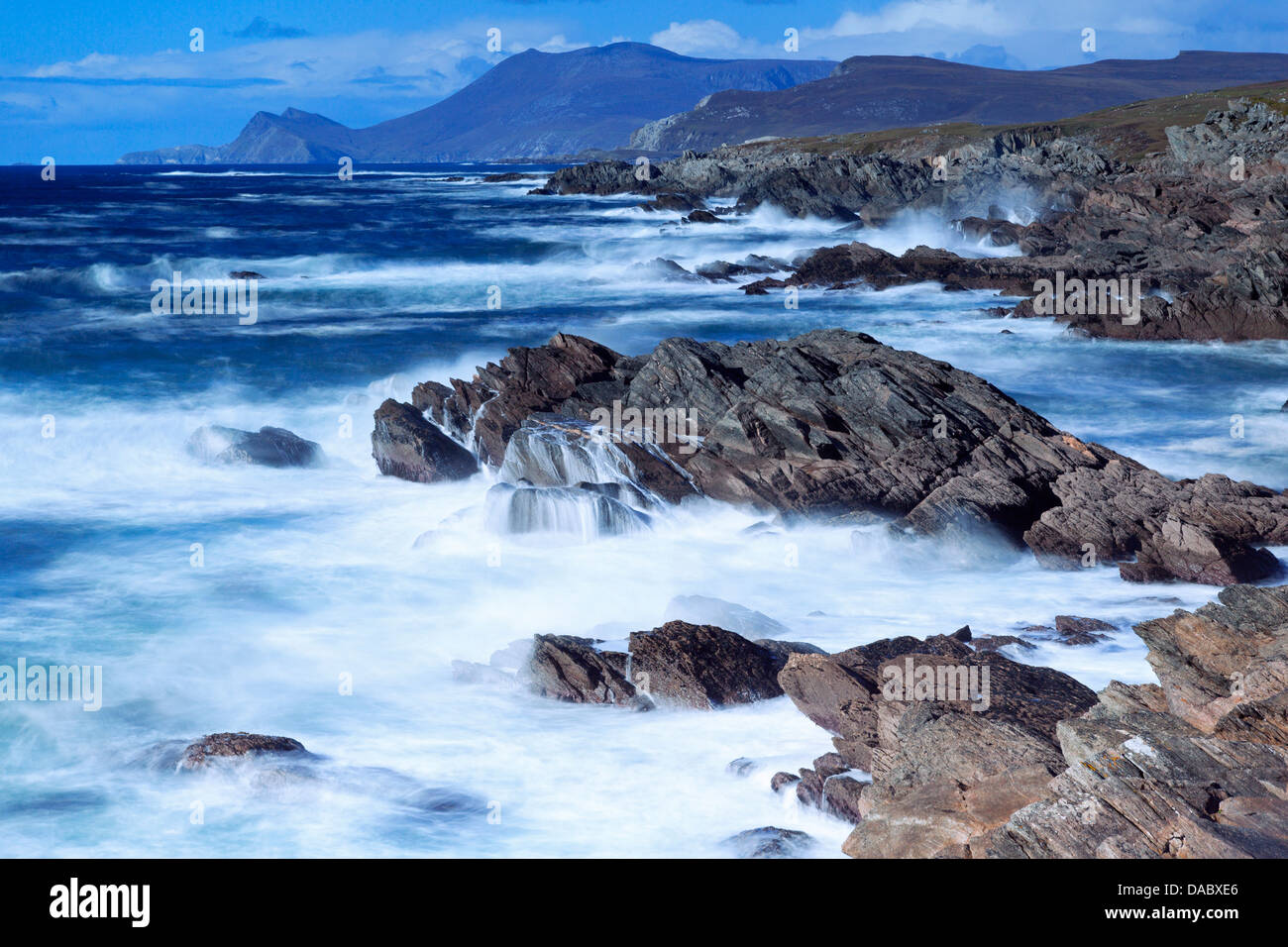 Coastline on Atlantic Drive, Achill Island, County Mayo, Connaught (Connacht), Republic of Ireland, Europe - Stock Image