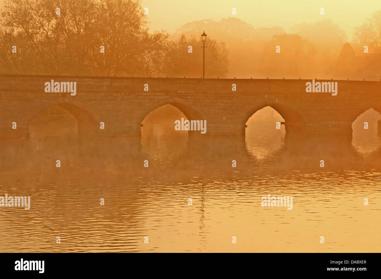 Clopton Bridge, Stratford upon Avon is a grade two listed scheduled ancient monument  The bridge across the River - Stock Image