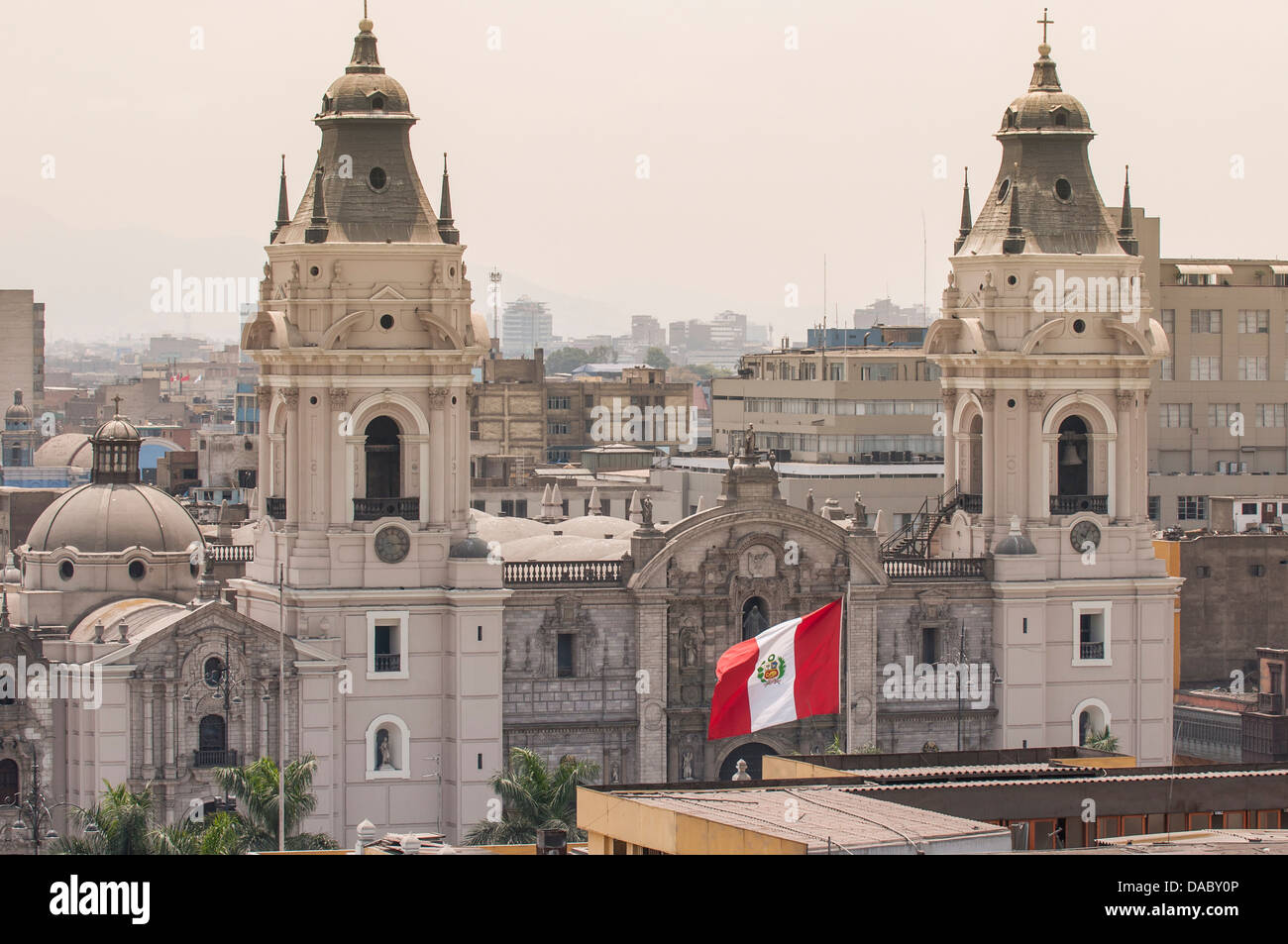 Cathedral of Lima from the steeple of The Church Santo Domingo, Lima, Peru, South America - Stock Image