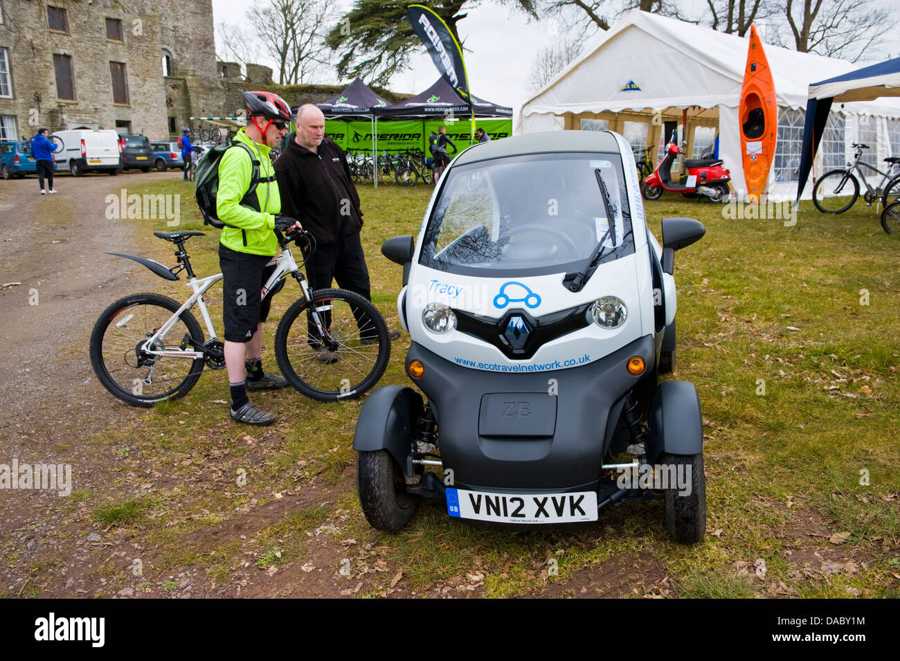 Renault Twizy electric car part of the Eco Travel Network at Hay on Wye Powys Wales UK Stock Photo