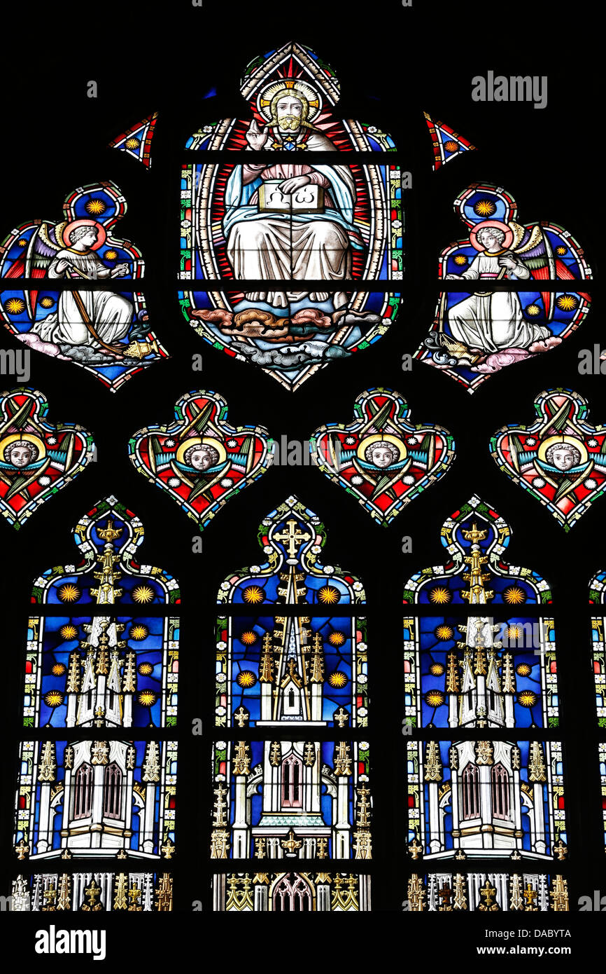 God depicted in a stained glass window, Saint Salvators Cathedral, Bruges, West Flanders, Belgium, Europe - Stock Image