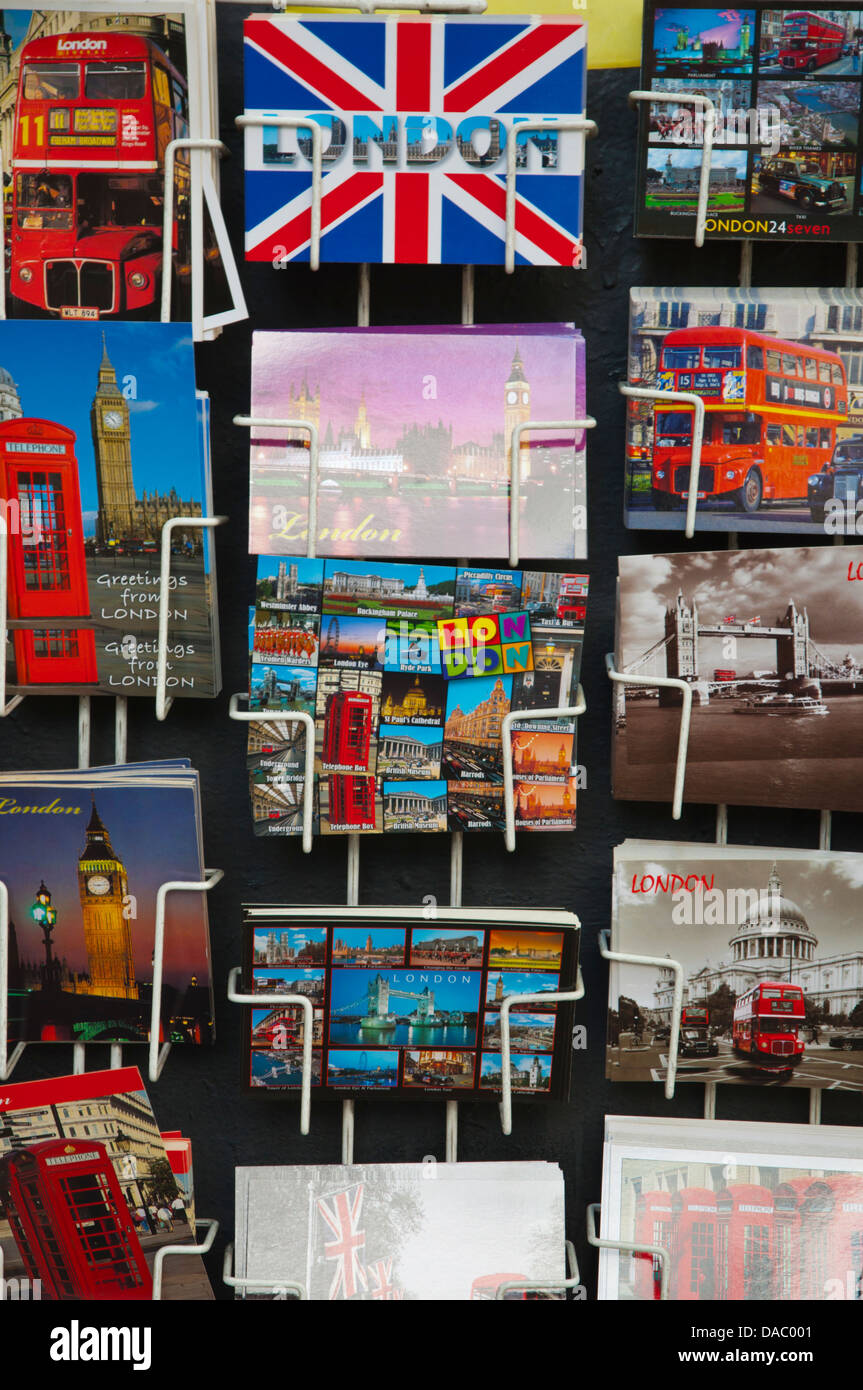 Postcards for sale London England Britain UK Europe - Stock Image