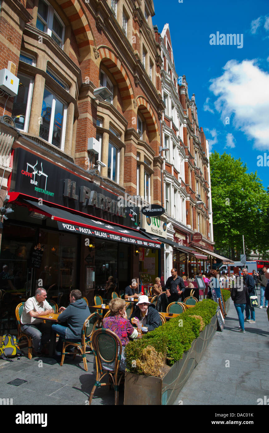 Restaurant terraces Irving Street Leicester Square central London England Britain UK Europe - Stock Image