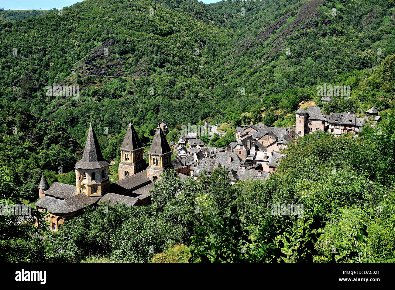 Village of Conques in the mountains, Aveyron, Midi-Pyrenees, France, Europe - Stock Image