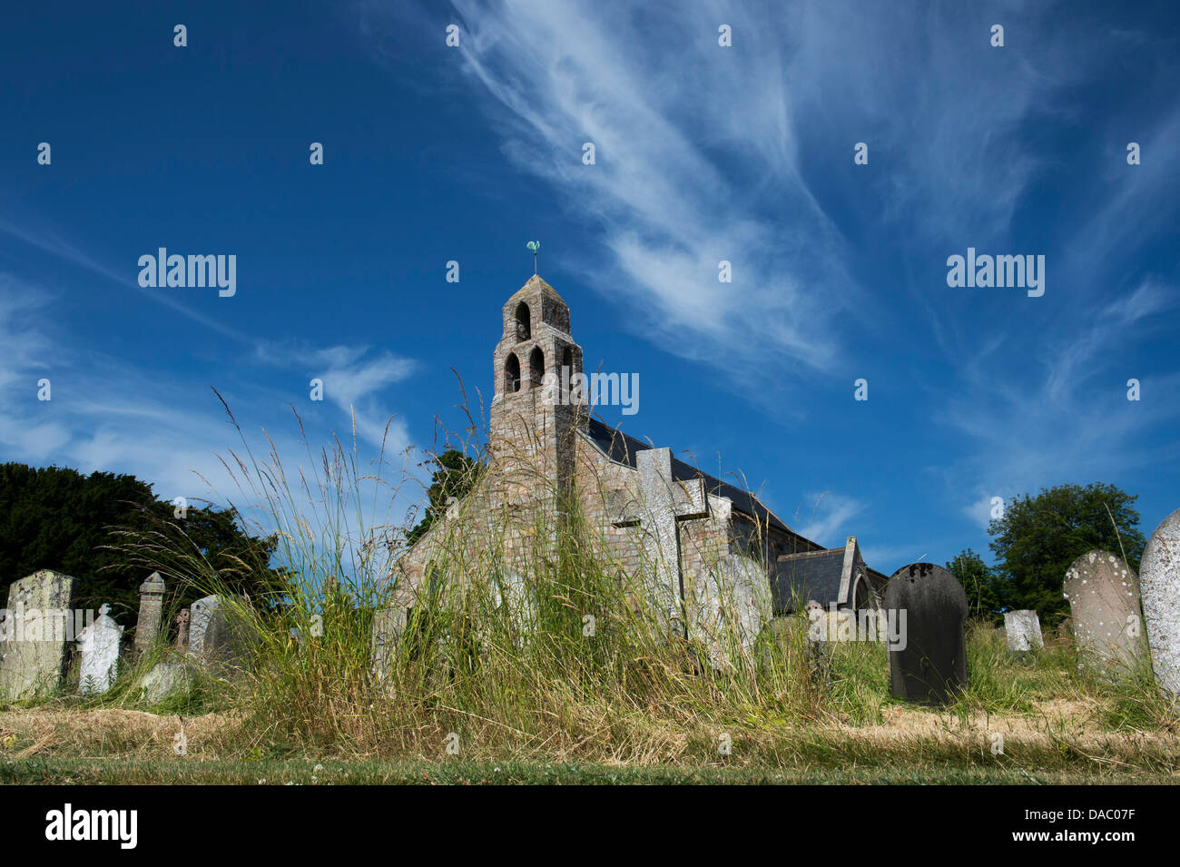 St Michael & All Angels Church and churchyard. Ford, Northumberland, England Stock Photo