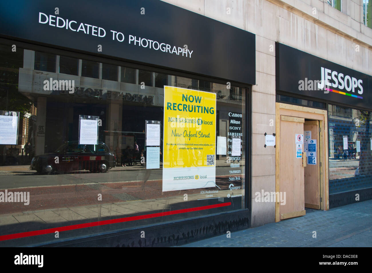 Bankrupt Jessops shop going to be replaced by Morrisons supermarket New Oxford street central London England Britain - Stock Image