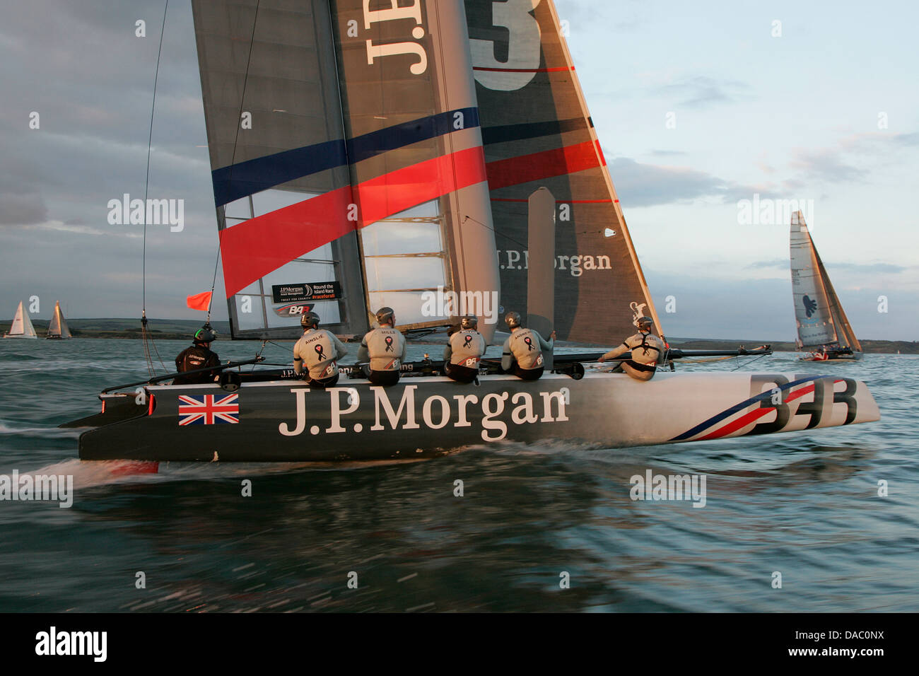 Sir Ben Ainslie J P Morgan Cowes isle of Wight catamaran Round the island Race, 2013 Stock Photo