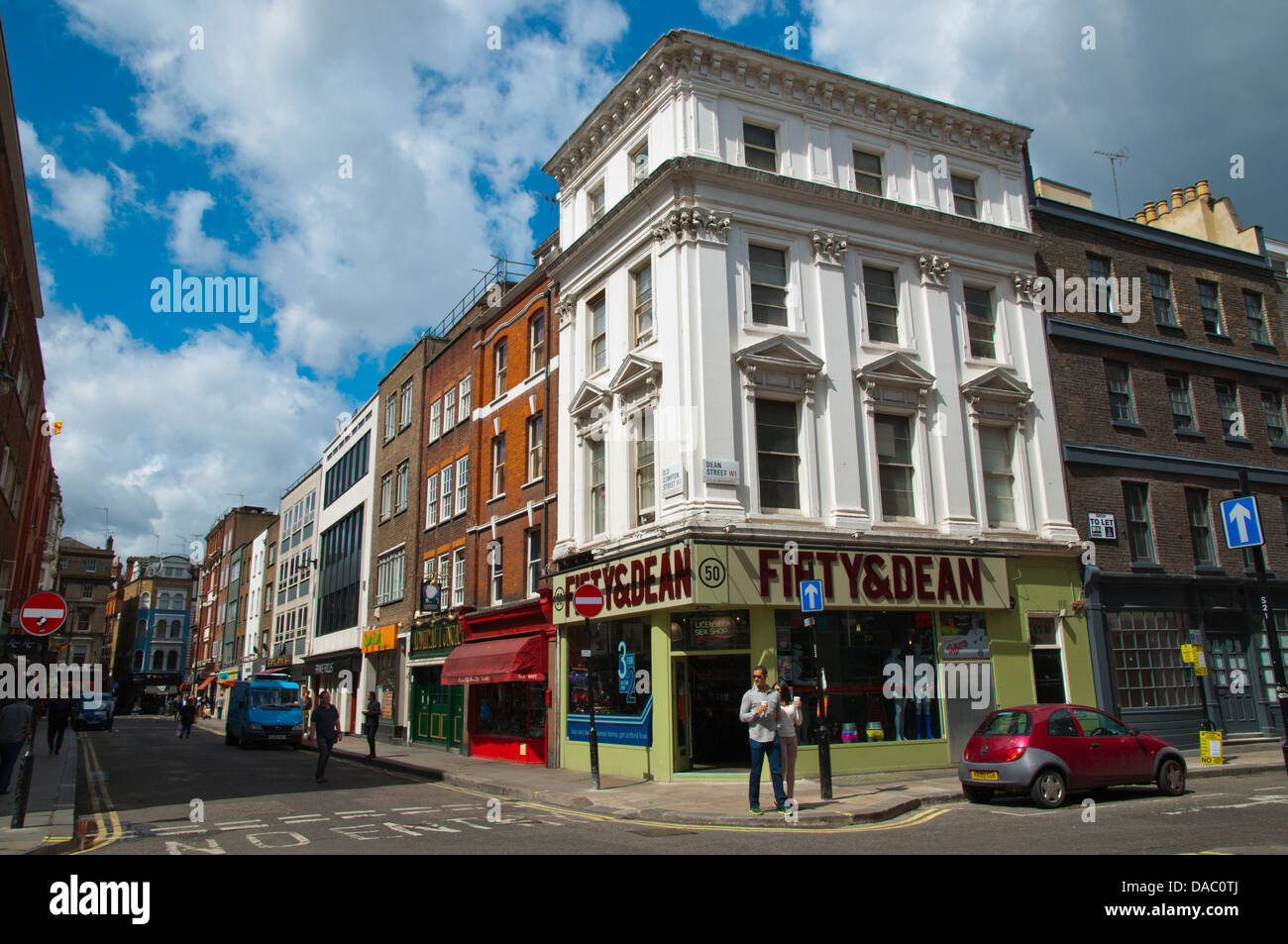 Corner of Old Compton Street and Dean street Soho district central London England Britain UK Europe - Stock Image