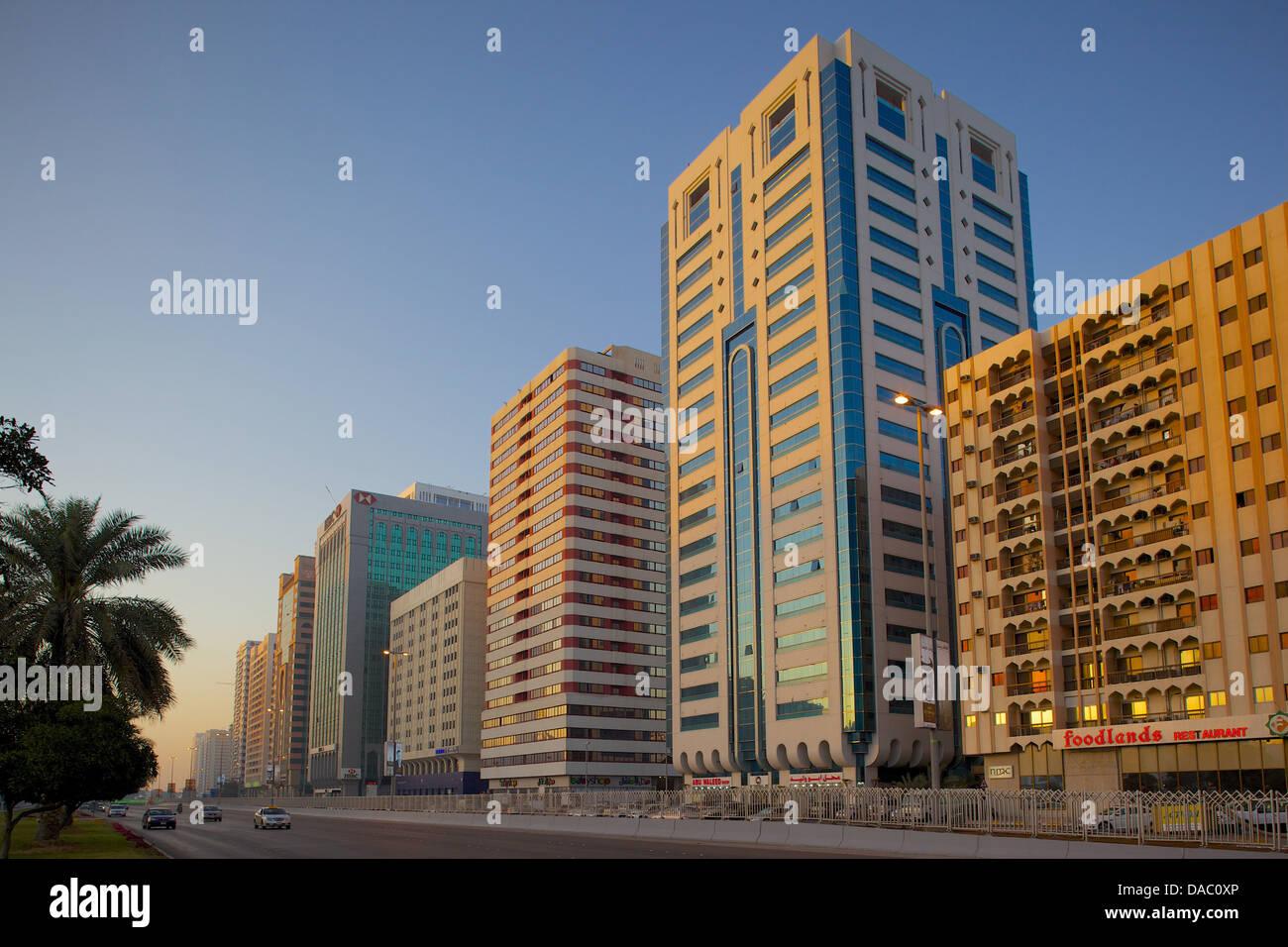 City skyline on Rashid Bin Saeed Al Maktoum Street, Abu Dhabi, United Arab Emirates, Middle East - Stock Image